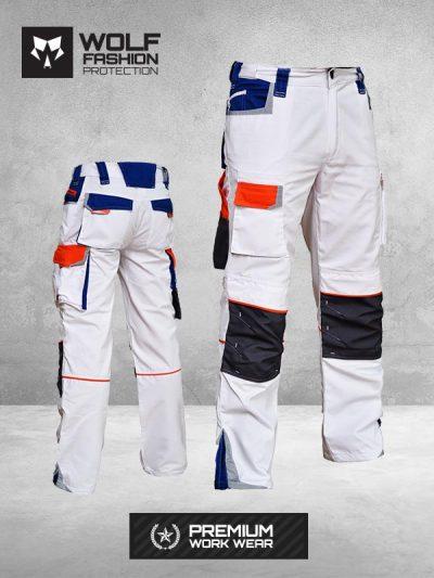 Radne Pantalone Wolf Belo Narandžasto Plava Kombinacija