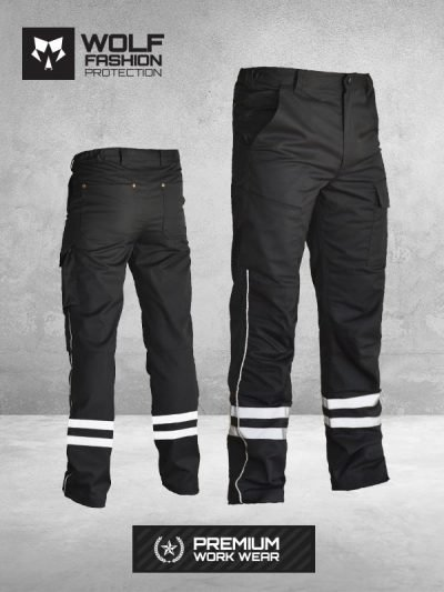 Radne Pantalone SI-Wolf 1006 Crne sa reflektujucim trakama slika komplet