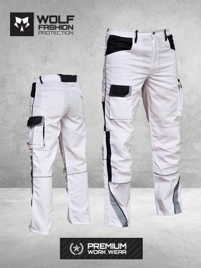 Radne Pantalone SI-Wolf 1005 Belo Crna Kombinacija Komplet