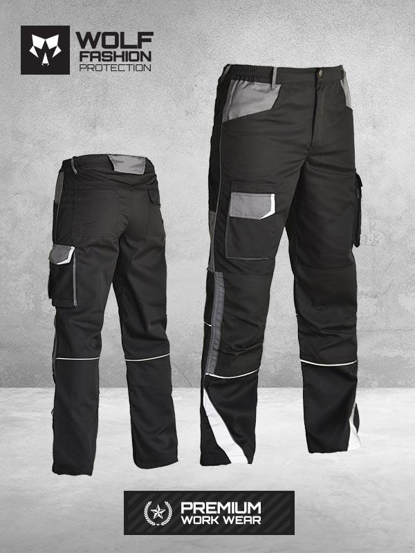 Radne Pantalone SI-Wolf 1005 Crna - Tamno Siva Kombinacija Komplet