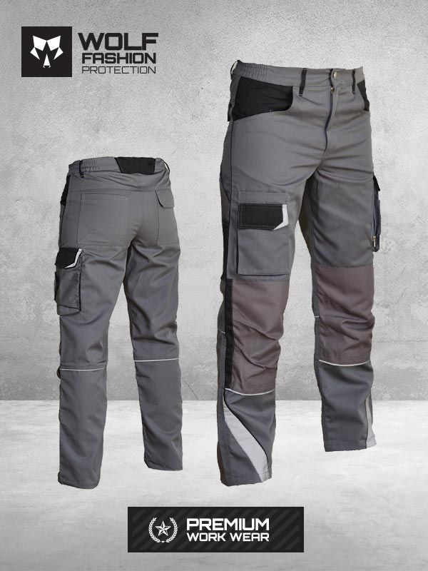 Radne Pantalone SI-Wolf 1004 Tamno Siva Crna Kombinacija Komplet