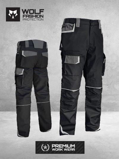 Radne Pantalone Si Wolf 1002 Crna Tamno Siva kombinacija komplet slika