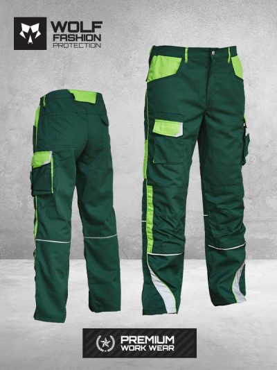 Radne Pantalone SI-Wolf 1005 Zelena - Svetlo zelena Kombinacija Komplet