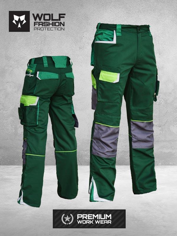 Radne Pantalone Wolf Zelena Svetlo Zelena Siva Komplet Kombinacija