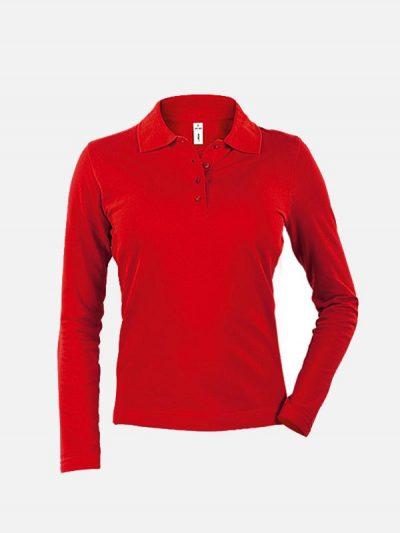 Ženska polo majica dugih rukava crvene boje