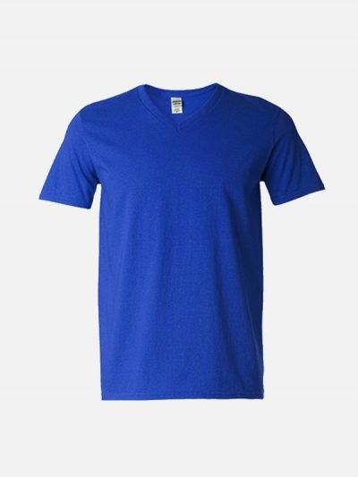 Royal plava pamučna majica sa v izrezom