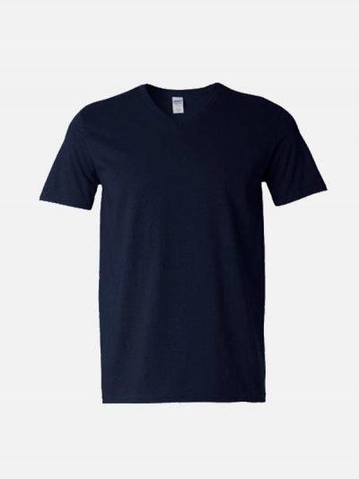 Teget pamučna majica sa v izrezom
